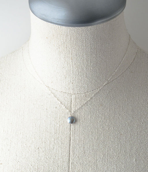 Coin Pearl Necklace (pewter)