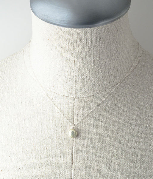 Coin Pearl Necklace (sage)