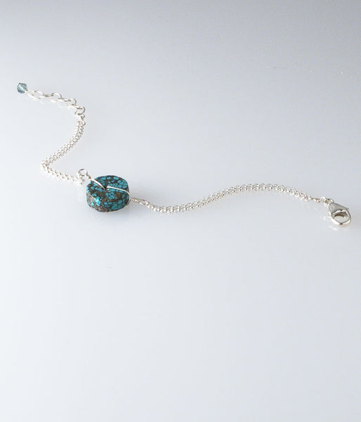 Turquoise, sterling silver.   Bracelet (adjustable), 6-7""