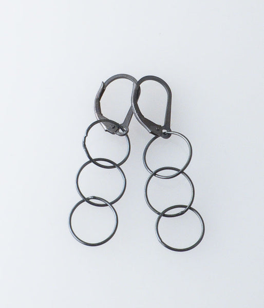 Fine Circles Earrings (oxidized sterling silver)