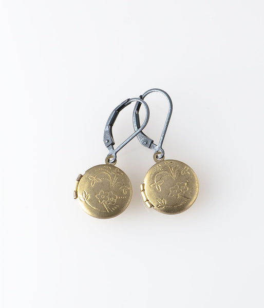 Round Locket Earrings