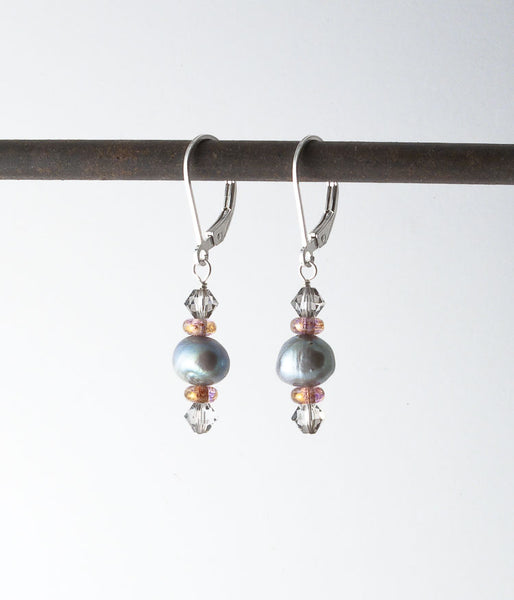 Freshwater pearl, Austrian crystal, Czech glass.   Earrings, 1.25""