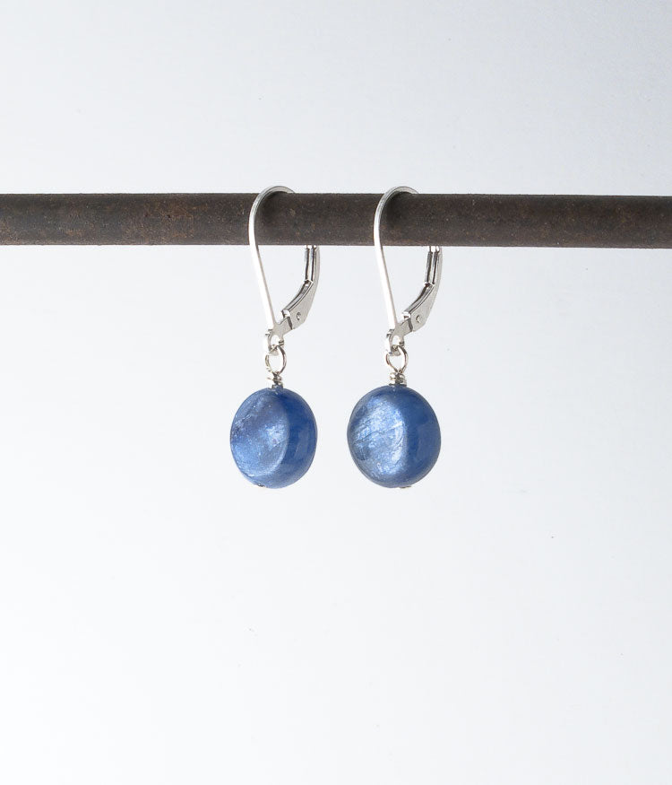 Kyanite, sterling.   Earrings, 1""