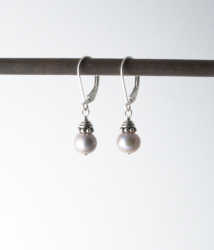 Freshwater pearl, Turkish sterling.  Earrings 1.125""