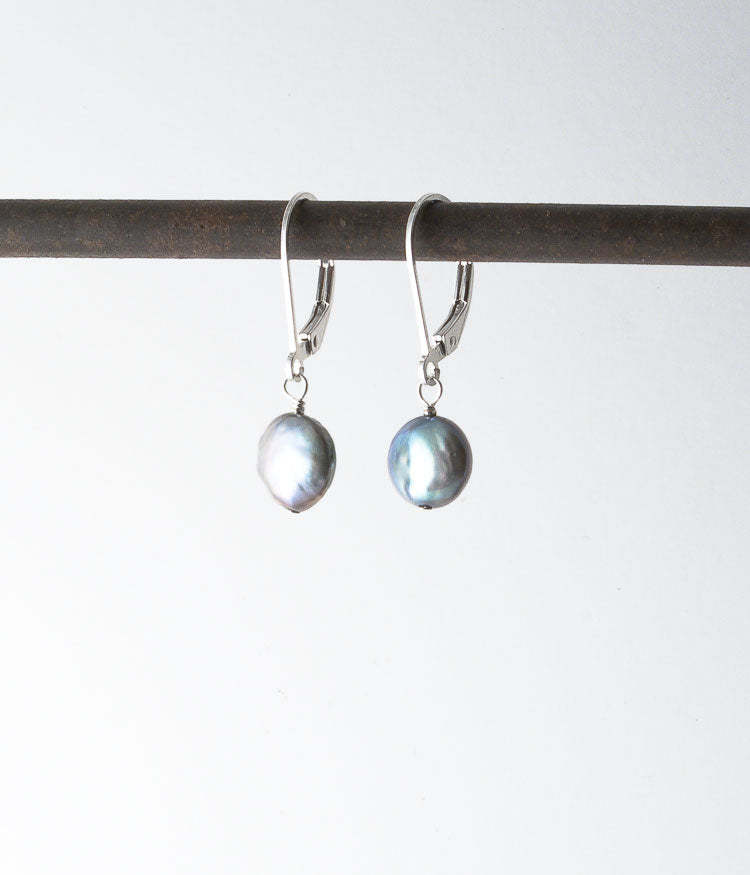 Freshwater pearl, sterling silver.   Earrings, 1""