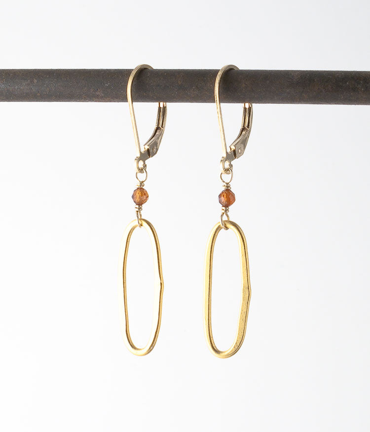 Gold vermeil, hessonite garnet, gold-filled.   Earrings, 1.75""