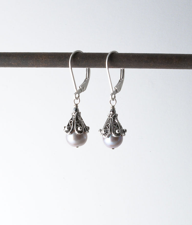 Freshwater pearl, Balinese sterling.   Earrings, 1.25""