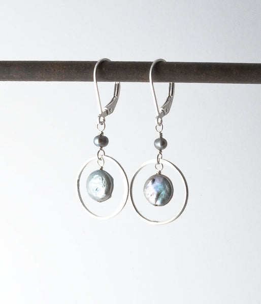 Freshwater pearl, sterling silver.   Earrings, 1.5""
