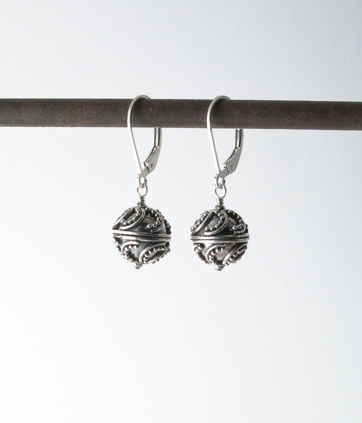 Balinese sterling, sterling silver.   These beads show the high quality craftmanship that Bali is known for, with each individual bead and wire being placed on the core bead by hand. It is a form of meditation for the artists, skill being passed on from generation to generation.   Earrings, 1.25""