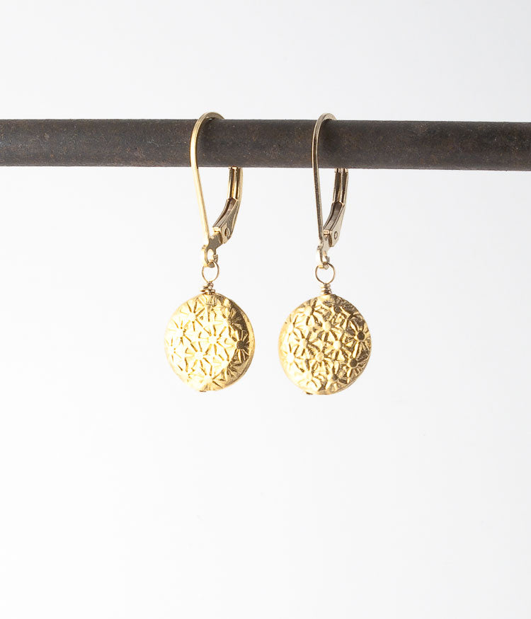 Gold vermeil, gold-filled.  Earrings, 1.25""