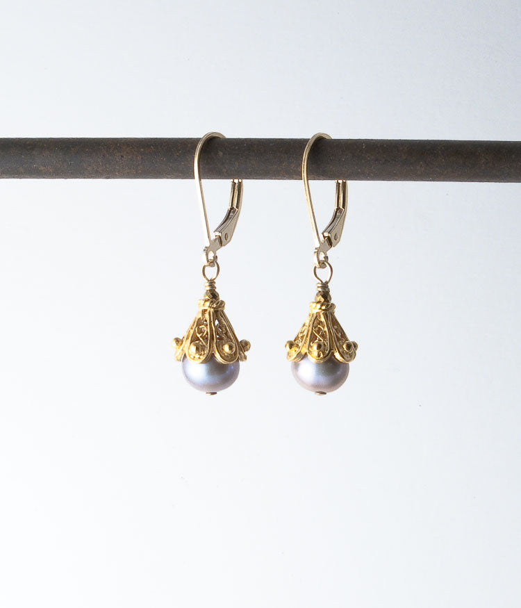 Freshwater pearl, vermeil, gold-fill.   Earrings, 1.25""