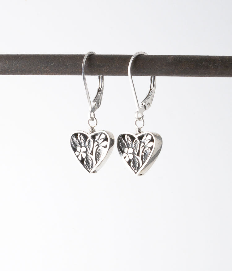 Balinese sterling silver.   Earrings, 1.25""
