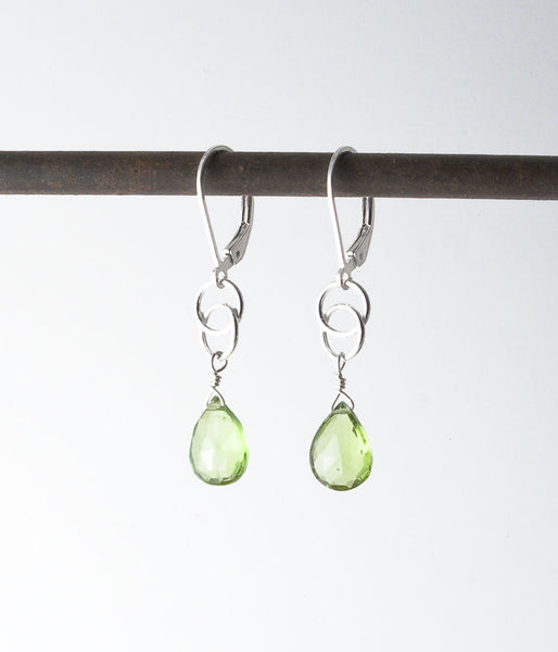 Peridot, sterling silver.   Earrings, 1.5""