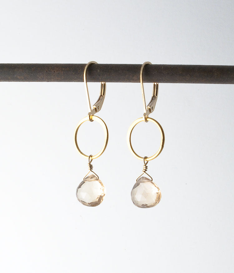 Champagne quartz, vermeil, gold-fill.   Earrings, 1.5""
