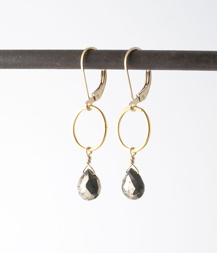 Pyrite, gold vermeil, gold-filled.  Earrings, 1.5""
