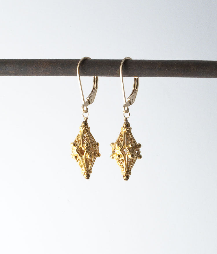 Vermeil, gold-fill.   Earrings, 1.5""
