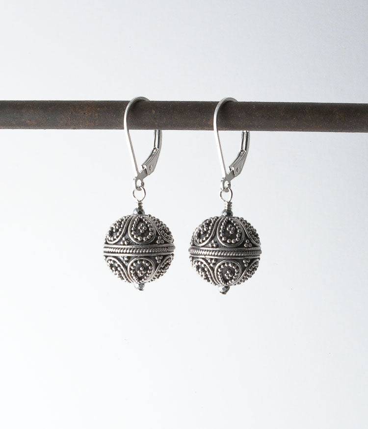 Balinese sterling, sterling silver.   These beads show the high quality craftmanship that Bali is known for, with each individual bead and wire being placed on the core bead by hand. It is a form of meditation for the artists, skill being passed on from generation to generation.   Earrings, 1.5""