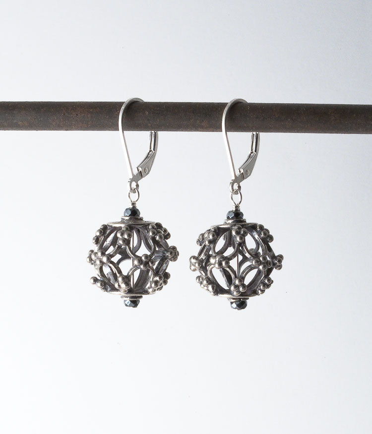 Balinese sterling, sterling silver.   Earrings, 1.5""