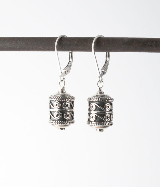 Turkish sterling silver.   Earrings, 1.25""
