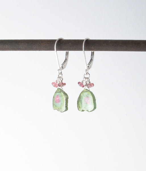 Watermelon tourmaline, pink tourmaline, sterling silver. Earrings, 1.25""