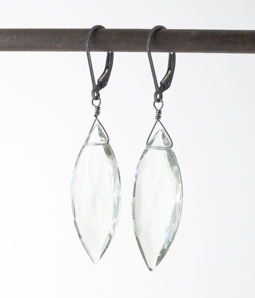 Fluorite, sterling silver.   Gorgeous banded fluorite drops!   Earrings, 2.25""