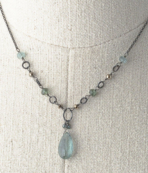 Aquamarine, apatite, oxidized sterling silver.   