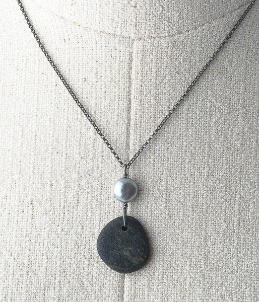 Lake Michigan stone, freshwater pearl, oxidized sterling.   Necklace (adjustable), 18-20""