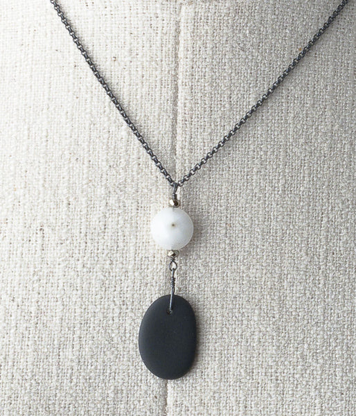 Lake Michigan stone, solar quartz, oxidized sterling silver.    Necklace (adjustable), 18-20""