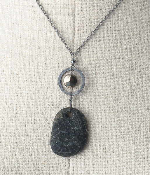 Lake Michigan Granite, pyrite, oxidized sterling silver. 
