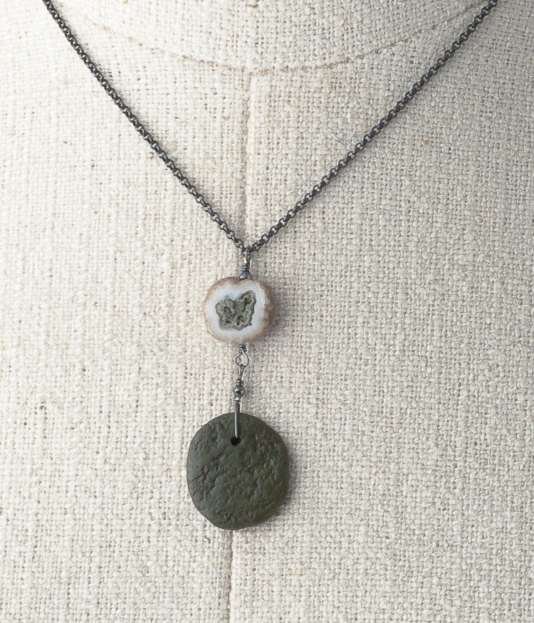 Solar quartz, Lake Michigan stone, oxidized sterling silver.   Necklace (adjustable), 16-18""