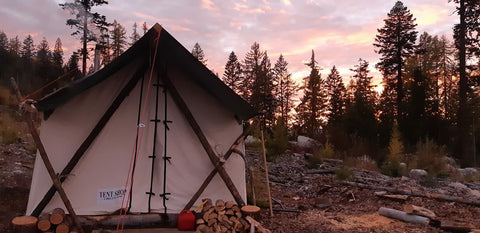 Canvas Wall Tent with Lodgepole Frame