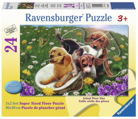 Frolicking Puppies 24 Piece Supersized Floor Puzzle, by Ravensburger