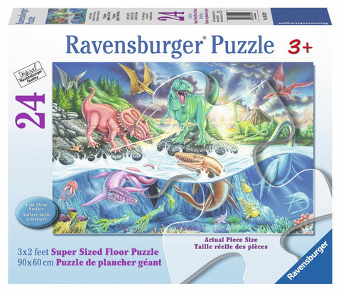 Land & Sea Dinosaurs 24 Piece Supersized Floor Puzzle, by Ravensburger