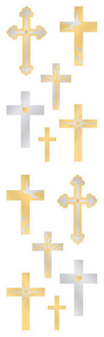 Mrs Grossman's Stickers - Gold & Silver Crosses