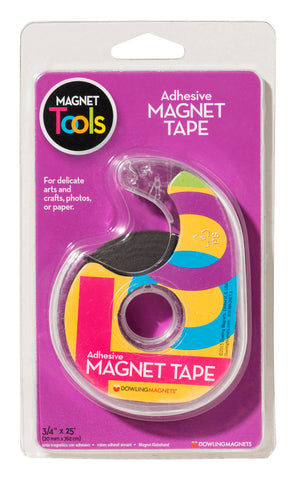 Dowling Magnets Adhesive Extra Thin Magnetic Tape with Dispenser, 3/4 Inch x 25 Feet