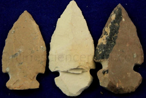 Three Jasper Replica Arrowheads Hand-Chipped 1-2 Inch w Info Card