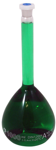 1000mL Volumetric Glass Flask with Shatterproof Plastic Stopper - Online Science Mall