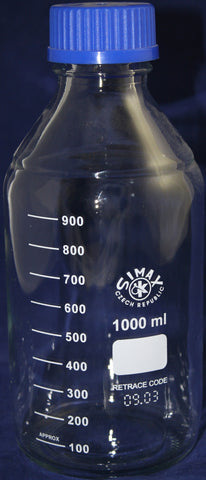 1000mL Simax Glass Media Storage Bottle w/Cap - Online Science Mall