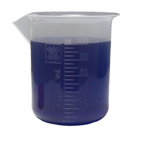 Polypropylene Plastic Beaker Graduated 100ml, New Style, Case of 12