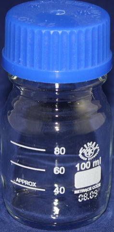 100mL Simax Glass Media Storage Bottle w/Cap - Online Science Mall