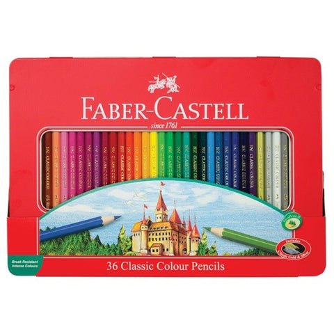 36 Classic Color Pencils w/Tin Case, by Faber-Castell - Includes Classic Gold & Silver