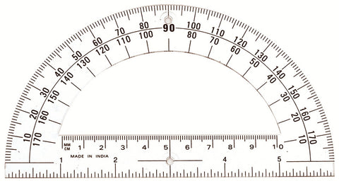 Student Protractor 180 Degree 6 Inch Ruler Clear Plastic Open Center - School Math