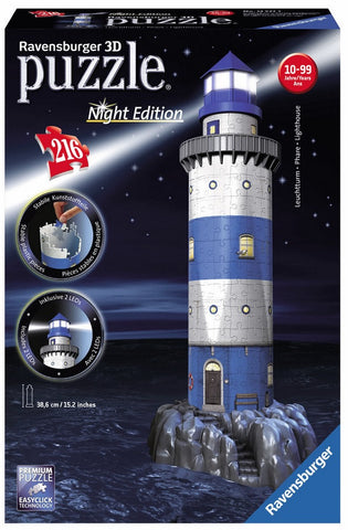 New England Style Lighthouse Replica 216 Piece 3D Plastic Puzzle w/LED Lights, by Ravensburger