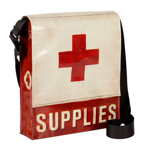 Medical Supplies Messenger Bag w Adjustable Strap - Red Cross Graphic