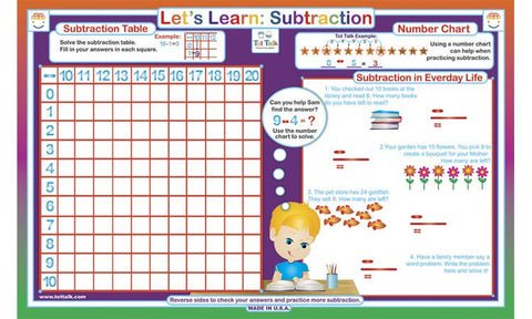 LetS Learn Subtraction  Math Activity Placemat By Tot Talk