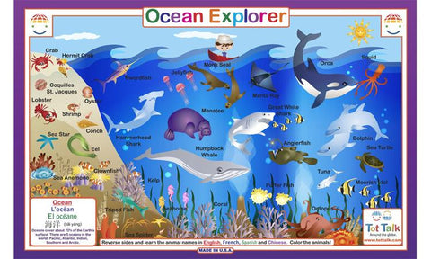 Ocean Explorer - Sea Life Activity Placemat  by Tot Talk