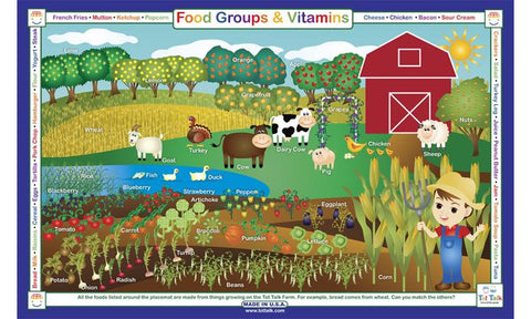 Food Groups & Vitamins - Nutrition Activity Placemat by Tot Talk