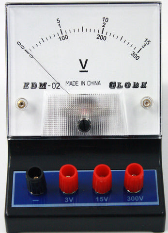 0-3/0-15/0-300 volts (V) Voltmeter, DC Analog Display - Online Science Mall