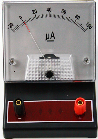 '-20-0-100 microampere (uA) DC Ammeter, Analog Display - Online Science Mall