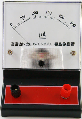 0-500 microampere (uA) Ammeter, Analog Display - Online Science Mall